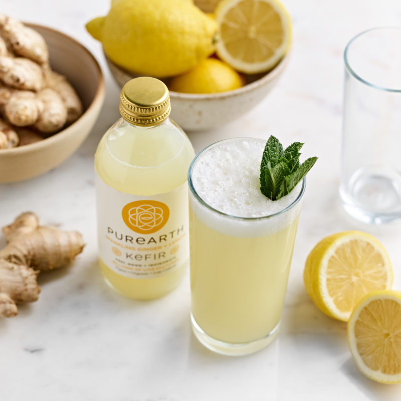 Purearth Ginger Lemon Water Kefir drink