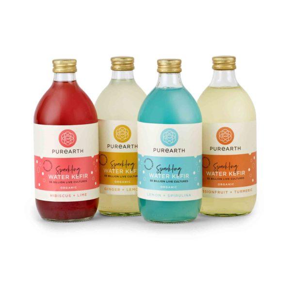 Bottles of Purearth Sparkling Water Kefir 550ml