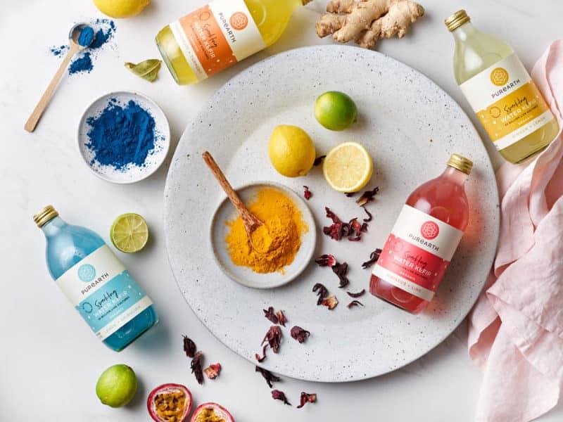 Mixture of Water Kefirs and Ingredients -