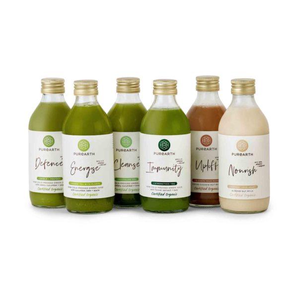Purearth Essentials Juice Pack Image, 4 Green Juice Bottles and 2 Nut Mylk Bottles