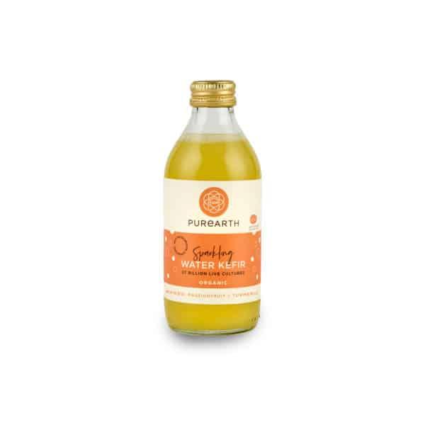 Bottle of Purearth Mango, Passionfruit + Turmeric Sparkling Water Kefir 270