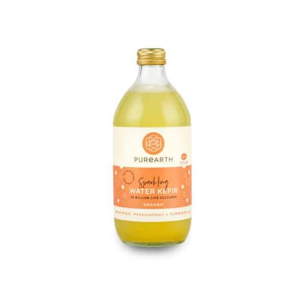 Bottle of Purearth Mango, Passionfruit + Turmeric Sparkling Water Kefir 550ml